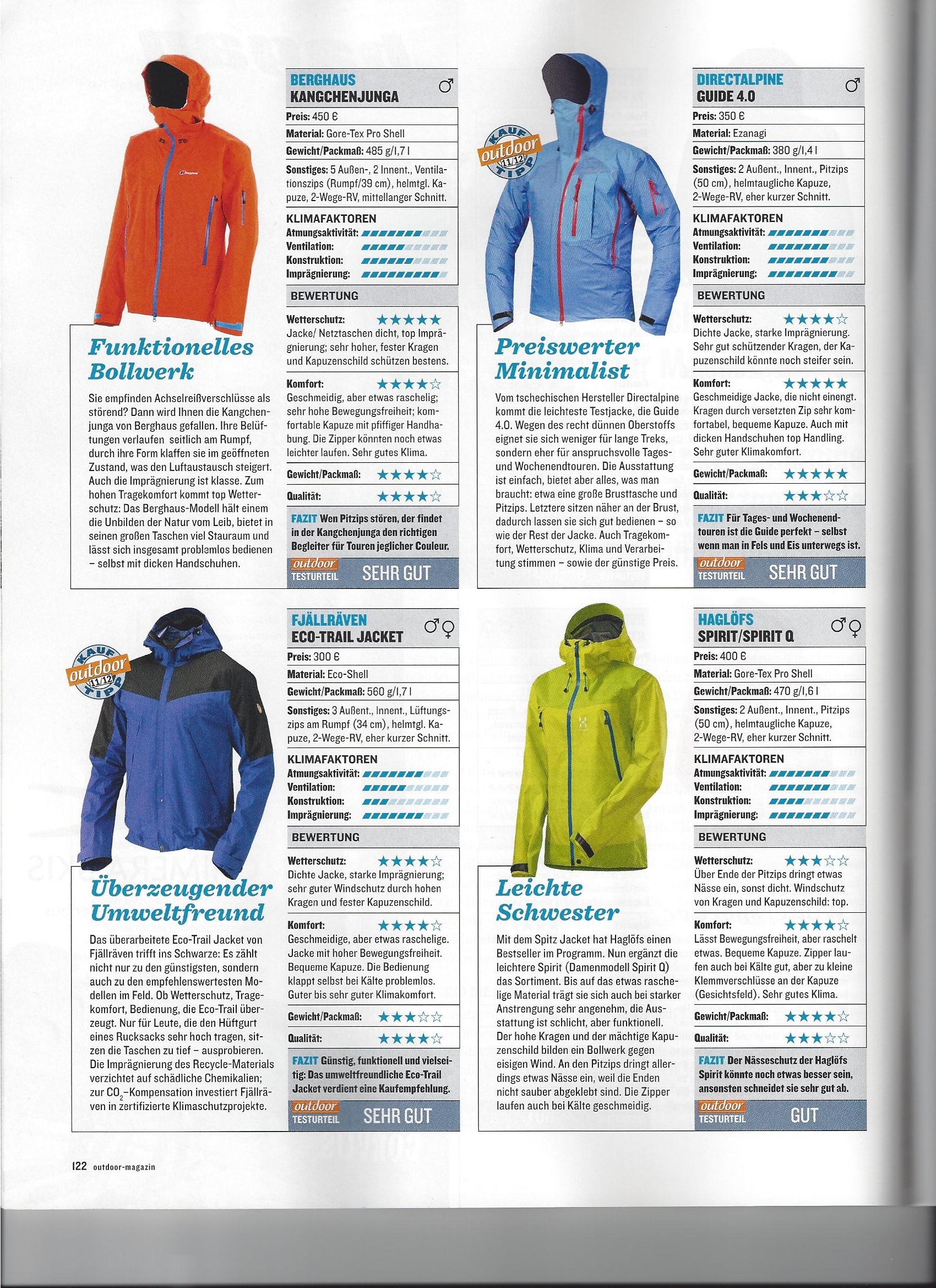 Hardshell GUIDE jacket in OUTDOOR magazine, Made in Europe